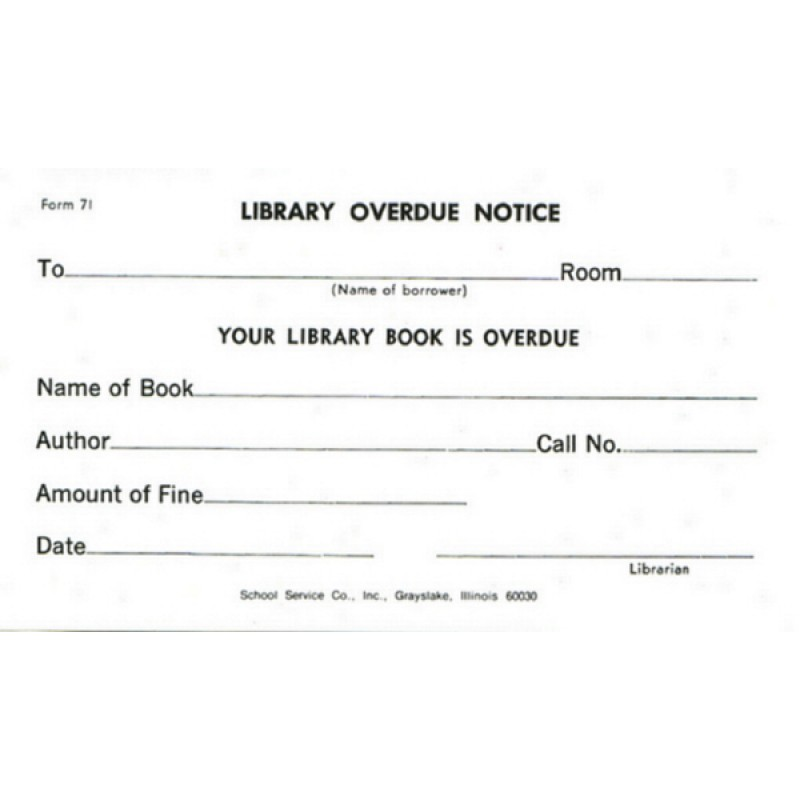 71 - Library Overdue Notice - Padded Forms