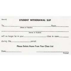 42 - Student Withdrawal Slip