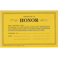 69B - Certificate of Honor
