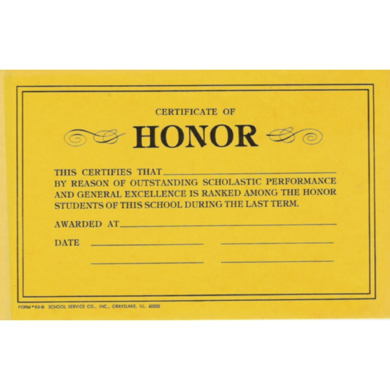 69B - Certificate of Honor - Miscellaneous