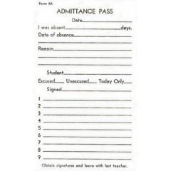 8A - Admittance Pass