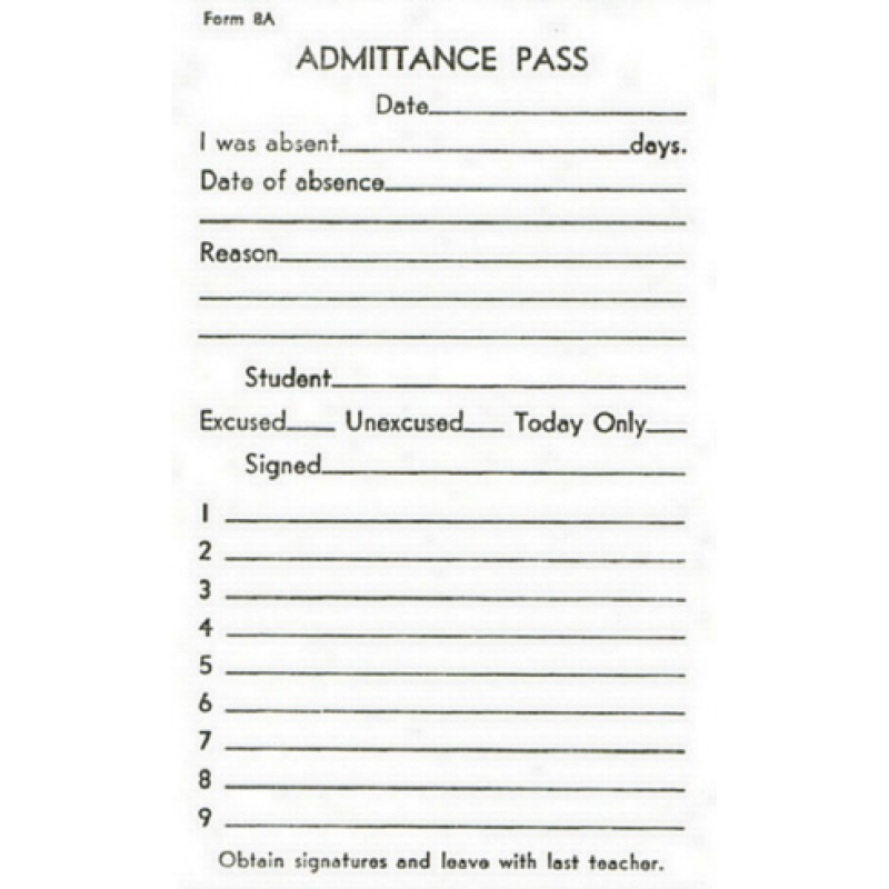8A - Admittance Pass - Padded Forms
