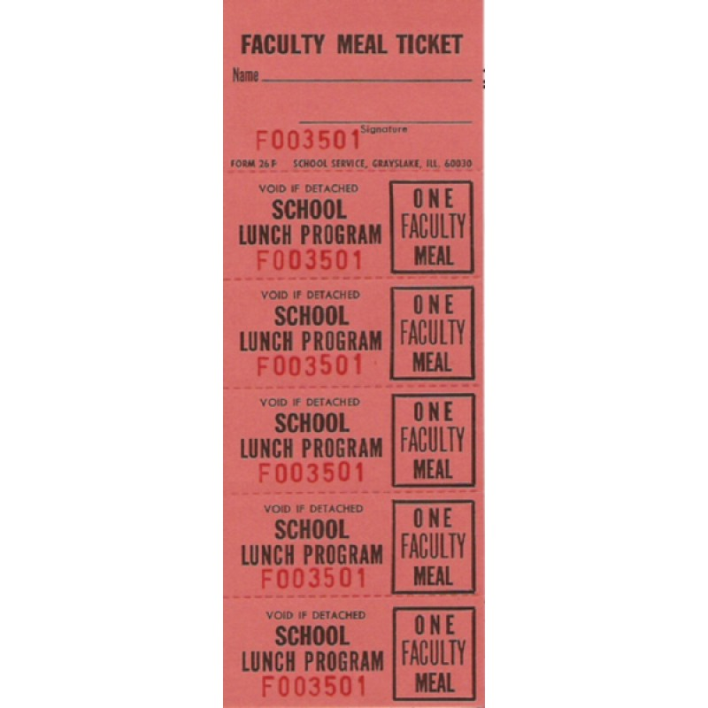 26F - Faculty Meal Strip Tickets - Strip Tickets