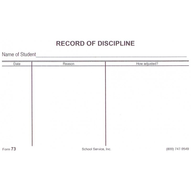 73 - Record of Discipline - Index Card Forms