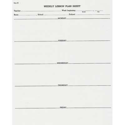 60 - Weekly Lesson Plan Sheet - Padded Forms