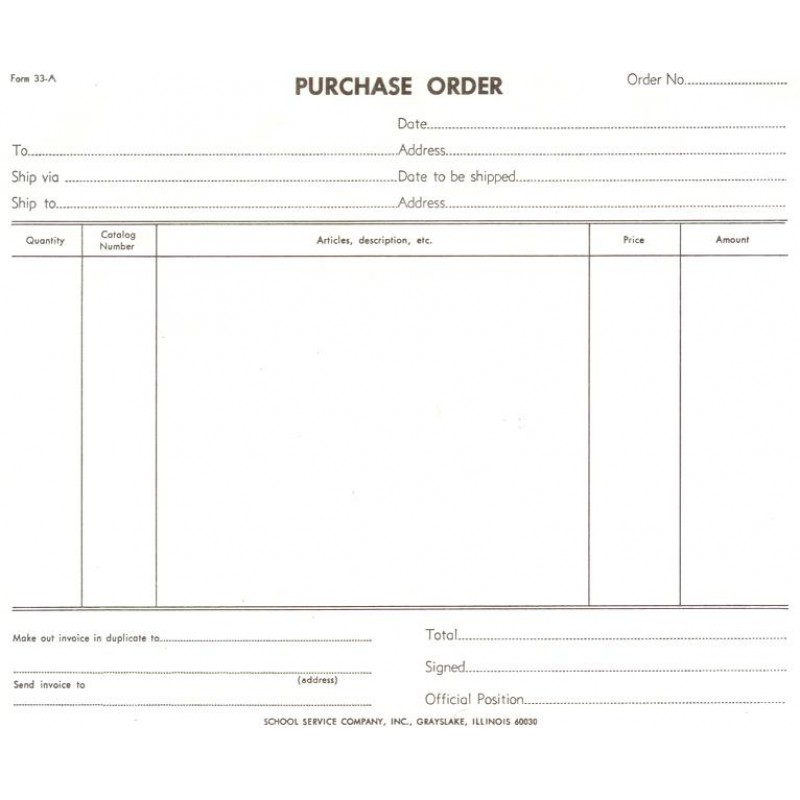 33A - Purchase Order - Padded Forms