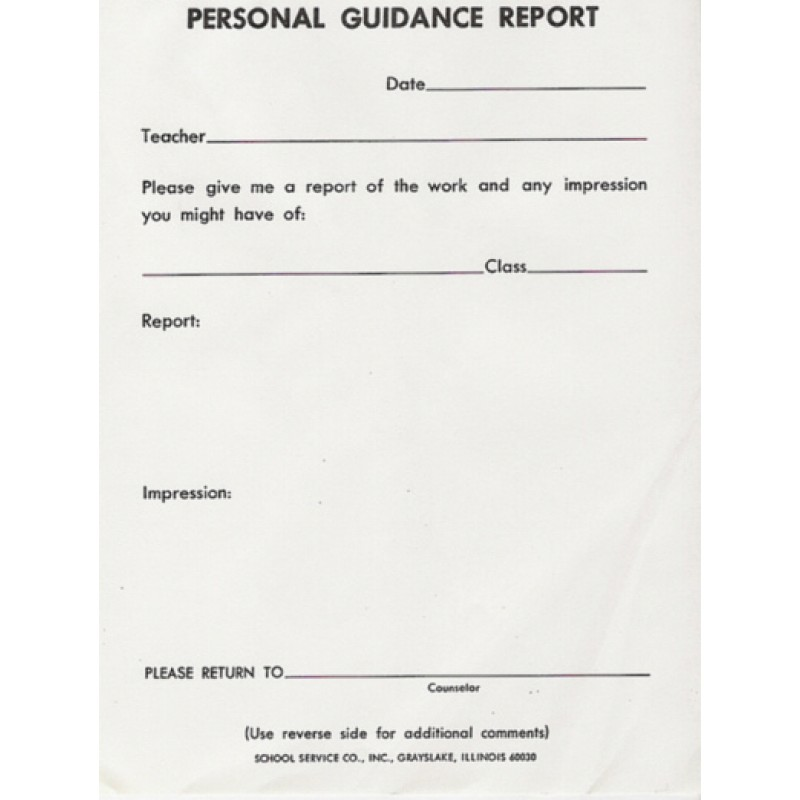 67A - Personal Guidance Report - Padded Forms