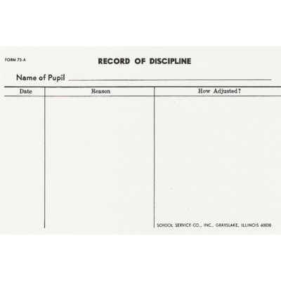 73A - Large Record of Discipline - Index Card Forms