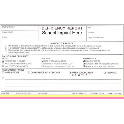 45G - Deficiency Report w/School Imprint - Carbonless Forms