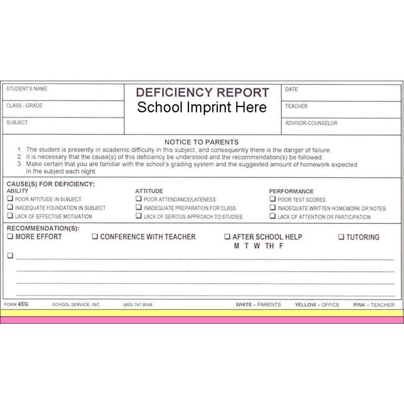 45G - Deficiency Report w/School Imprint - Carbonless Forms
