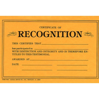 69C - Certificate of Recognition - Miscellaneous