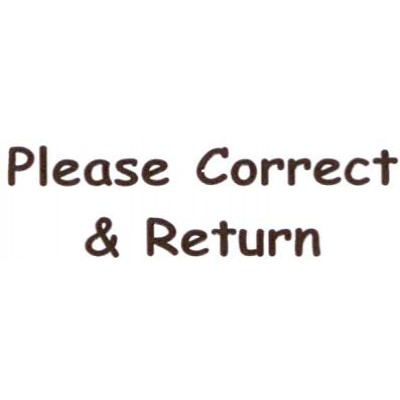 AS49 - Large Please Correct & Return Stamp - School Office & Business Office Stamps