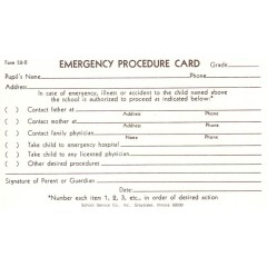 52B - Emergency Procedure Card