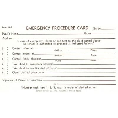 52B - Emergency Procedure Card - 3 x 5 Size