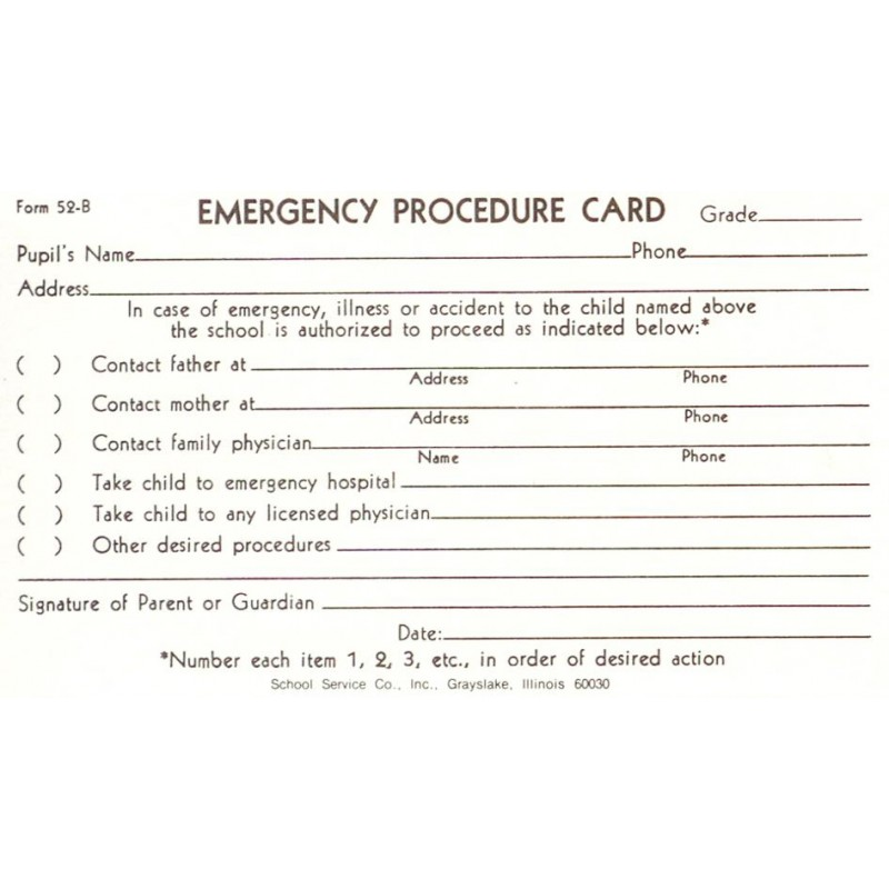 52B - Emergency Procedure Card - 3 x 5 Size