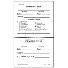 113A - Demerit Slip with Perforated Stub
