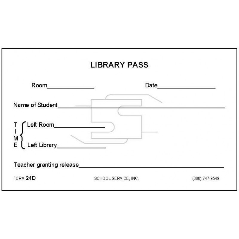 24D - Library Pass - Padded Forms