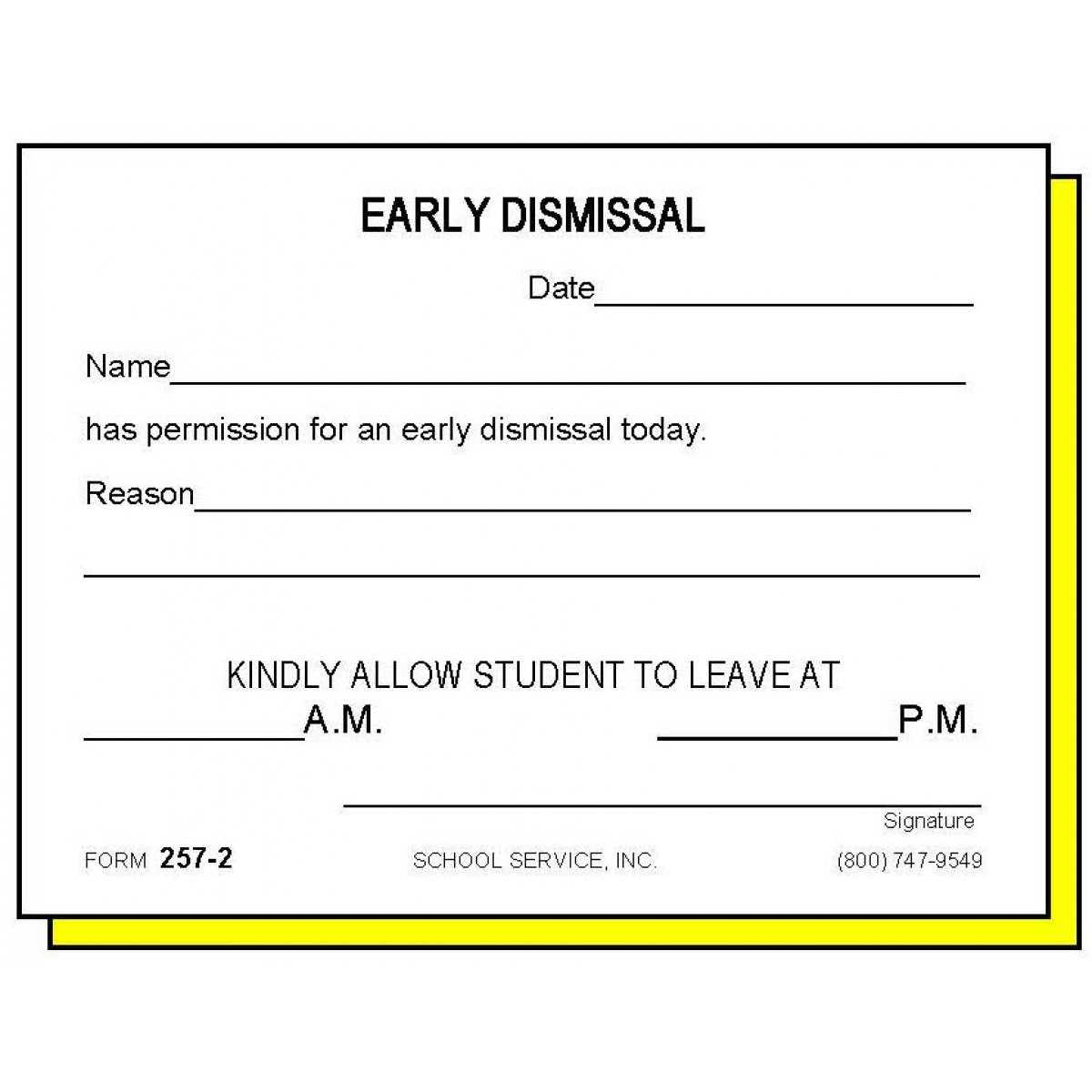 2 - Two-Part Early Dismissal - Carbonless Forms