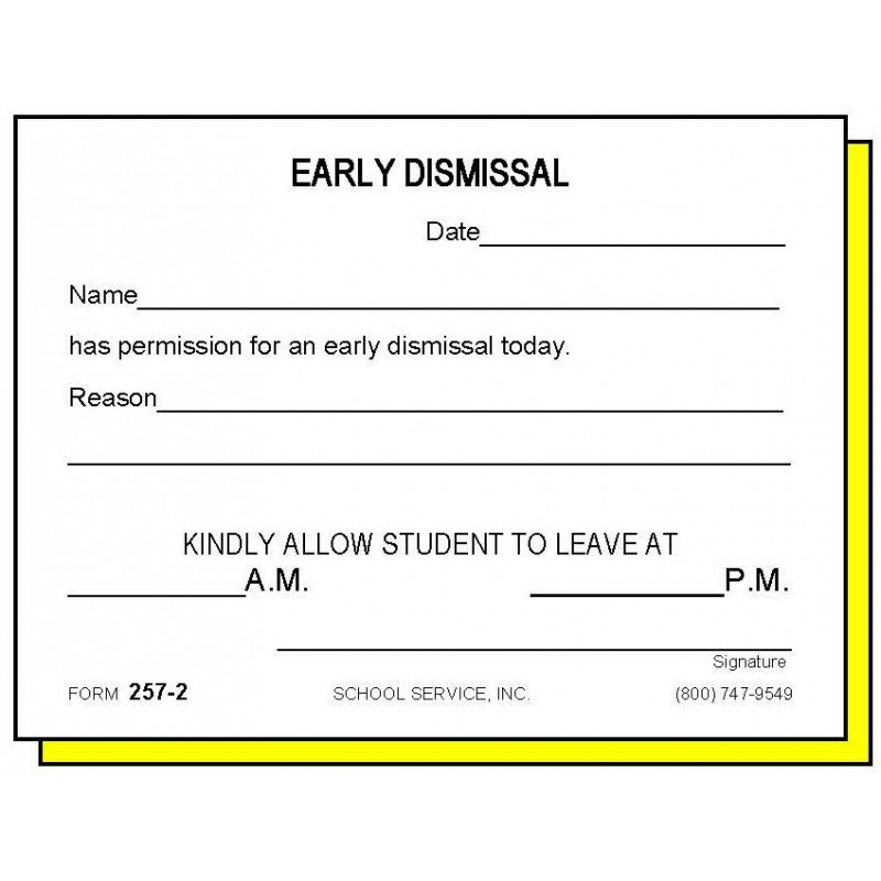 257-2 - Two-Part Early Dismissal - Carbonless Forms