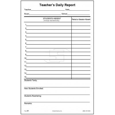 31A - Teacher s Daily Report of Absentees - Padded Forms