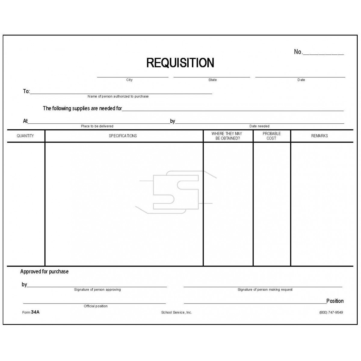 34A - Requisition Form - Padded Forms