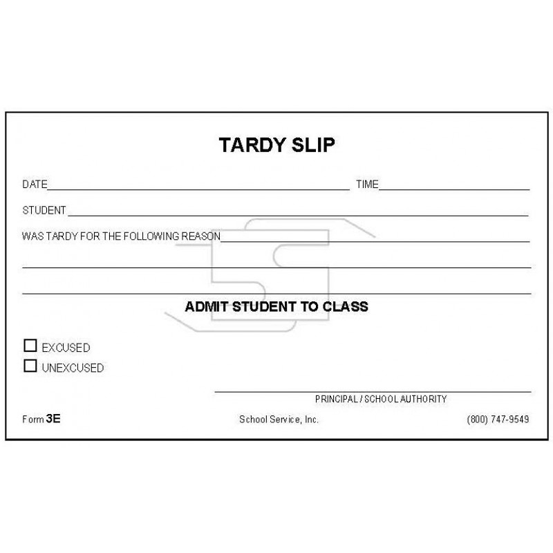3E - Tardy Slip - Padded Forms