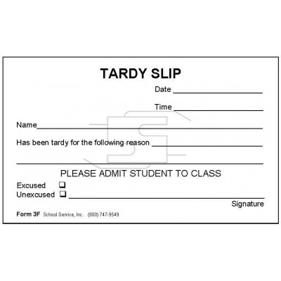 3F - Tardy Slip - Padded Forms