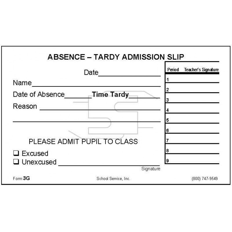 3G - Absence-Tardy Admission Slip - Padded Forms