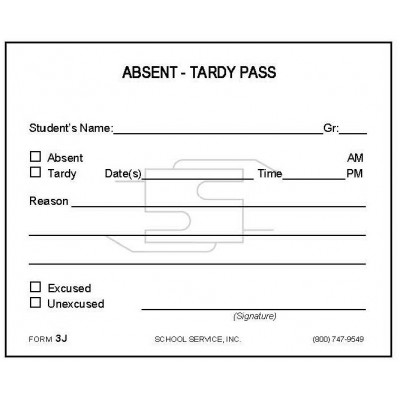3J - Absent-Tardy Pass - Padded Forms