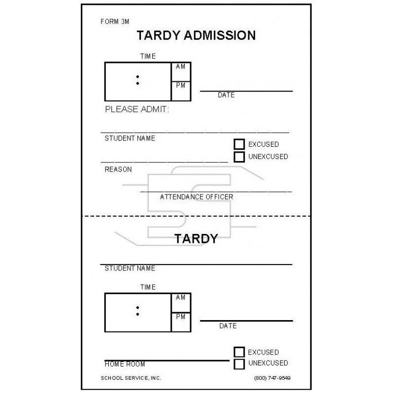 3M - Tardy Admission - Padded Forms
