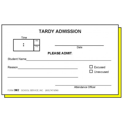 3M2 - Two-Part Tardy Admission - Carbonless Forms