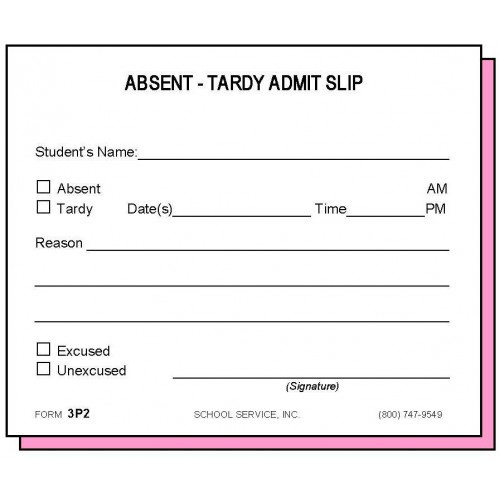 3p2 Two Part Absent Tardy Admit Carbonless Forms