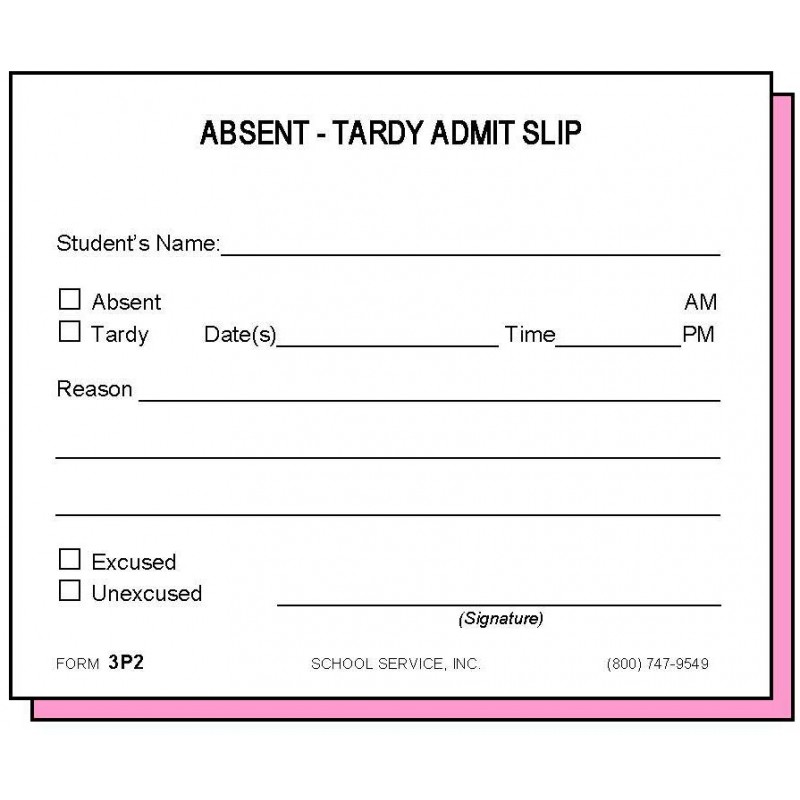 3P2 - Two-Part Absent-Tardy Admit - Carbonless Forms