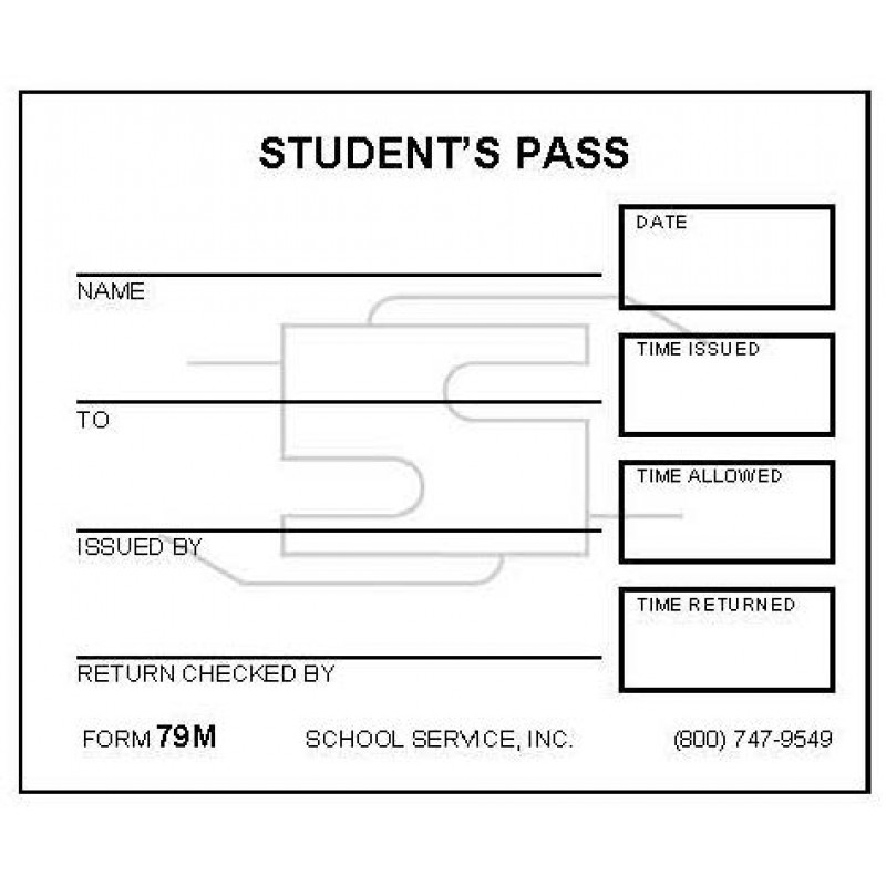 79M - Small Student s Pass - Padded Forms